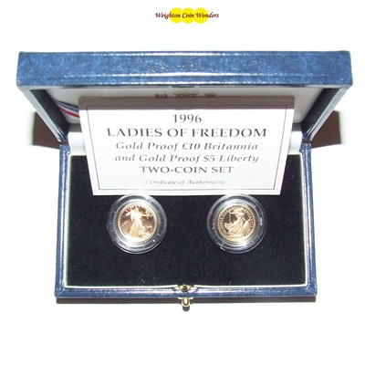 1996 Gold Proof 'Ladies of Freedom' 2 Coin Set